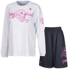コンバース Season ウィメンズ プリントLSシャツ&プラクティスパンツ 上下セット ホワイトピンク×ネイビー converse CB382304L-1161-CB382804-2900