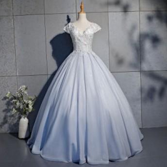 ロングドレス 演奏会 刺繍 ドレス  ステージ カラードレス パニエ付き サイズ指定可 半袖 ロングドレス シルバー パーティードレス