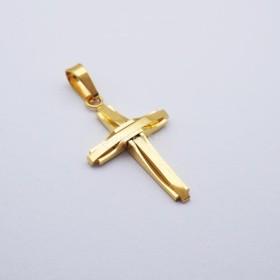 レトロな ゴールド ステンレス スチール 十字架 チェーン クロスペンダント ペンダントネックレス