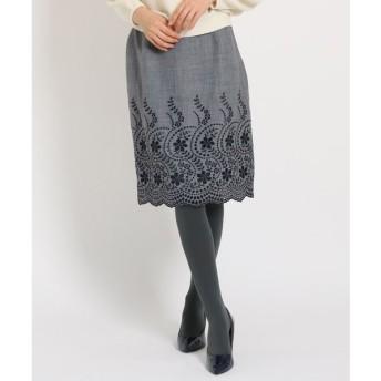 SunaUna / スーナウーナ 【洗える】カットワーク刺しゅうスカート