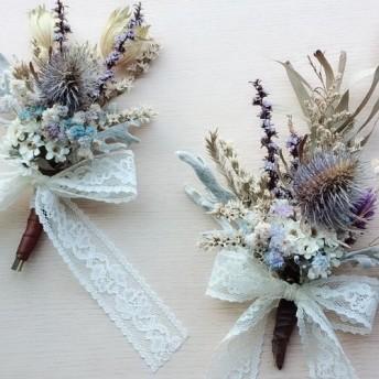 素朴な風の乾燥した小さな花束のグループ