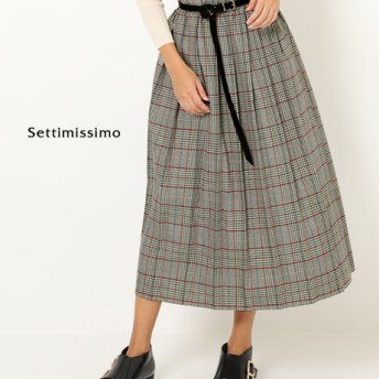 ●グレンチェックプリーツロングスカート