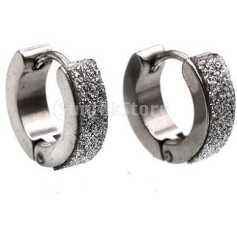 全8種 ステンレス鋼製 ピアス メンズジュエリー フープ スナップ ヒンジ - 銀2