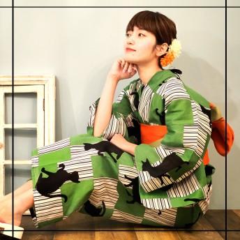 浴衣 - Ainokajitsu 女性浴衣 レディース浴衣 浴衣 単品 浴衣単品 仕立て上がり レディース 女性用 レトロ 個性 グリーン 猫 ネコ お洒落 かわいい