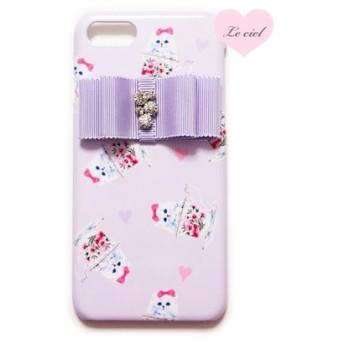 iPhoneX/iPhone8/iPhone8Plus/iPhone7 ラベンダー ティーカップキャット×ビジューリボン