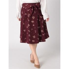 【大きいサイズレディース】【LL展開】スキスカフラワーミディスカート スカート 膝丈スカート