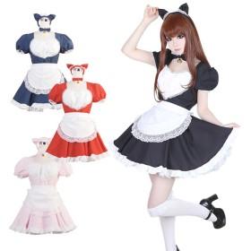 ハロウィン用コスチューム - BODYLINE ハロウィン コスプレ 黒猫メイド服(大人用) ロリータS~4Lサイズあり 4色展開 4点セット セクシー こすぷれ はろういんcostume542 衣装