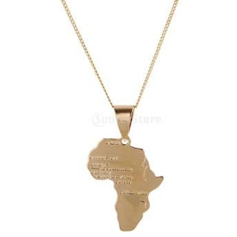 アフリカ地図ペンダント ゴールドメッキ チェーン ネックレス ジュエリー