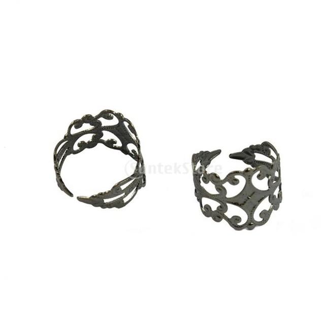 10本 調節可能な 真ちゅう 空白 ブラック 打ち切り 花弁 花のリング 指飾り ジュエリー