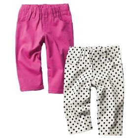 ストレッチツイル6分丈スキニーパンツ2枚組(女の子 子供服。ジュニア服) パンツ