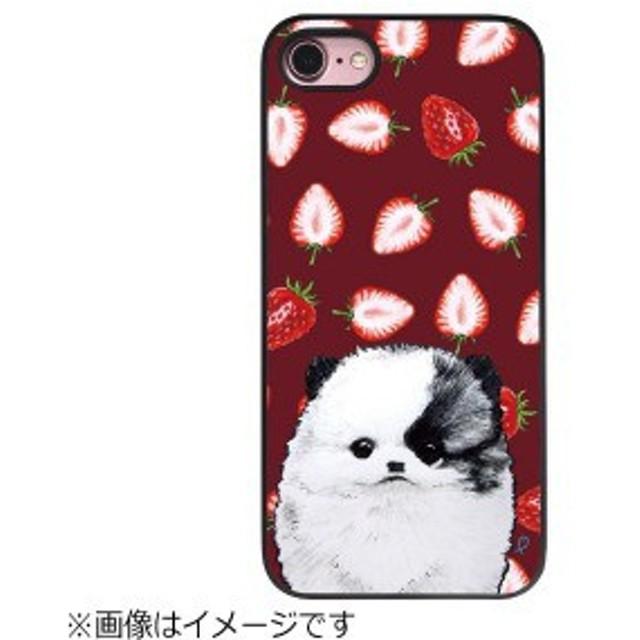 ROA iPhone 8 ブラックケース ポメラニアンとイチゴ DS10438I7S