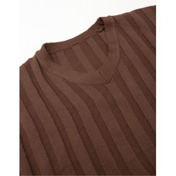 ニット・セーター - Re: EDIT ゆるやかなサイジングが魅力のワイドリブニット Vネックワイドリブショートニットトップス トップス/ニットトップス 秋冬 新作
