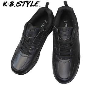 KB.STYLE K-2125BK メンズ スニーカー ブラック 3E 幅広 ファスナー付き 軽量 作業靴 ヒモ靴