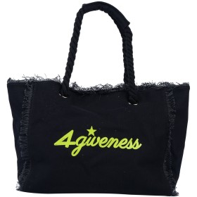 《期間限定セール中》4GIVENESS レディース ハンドバッグ ブラック コットン 100% / ポリエステル