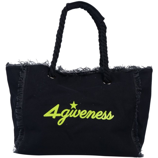 《セール開催中》4GIVENESS レディース ハンドバッグ ブラック コットン 100% / ポリエステル