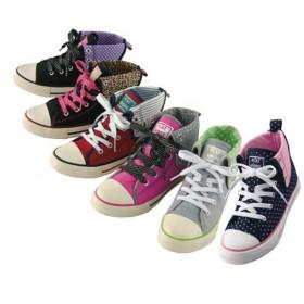 【格安-子供用靴】ジュニアキャンバス地折り返しハイカットガールズスニーカー