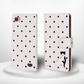 お座り猫 ドット ハチワレ猫 iPhoneケース android 手帳型ケース ほぼ全機種対応 cat320