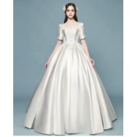 オフショルダー 刺繍 プリンセスライン 5分丈 ロングドレス ウェディングドレス 白 二次会 花嫁 ウェディングドレス 大きいサイズ ドレス