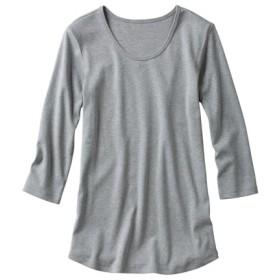 UVカット綿100%フライス素材クルーネック7分袖Tシャツ (Tシャツ・カットソー)(レディース)T-shirts