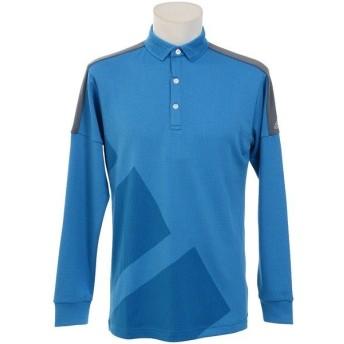 (セール)adidas(アディダス)ゴルフ 長袖ポロ 長袖ハイネック JP CP ビックストライプ L/S ポロ CCS51-U31033 メンズ ブライトブルー