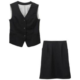 【事務服。ベストスーツ】2点セット(ベスト+タイトスカート)(選べる2レングス) (大きいサイズレディース)事務服