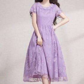 花柄レース 花嫁さんにもおすすめ☆ かわいい 半袖ドレス