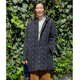 J.PRESS / ジェイプレス キルテッドチェック ロング丈コート