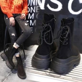 ブーツ ショートブーツ 大きいサイズ 6cm厚底 スエード インヒールブーツ レディース ブーティー 秋新作 秋色