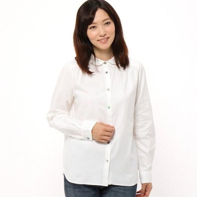 シャツ ブラウス レディース リバティボタンのビエラ丸襟ブラウス 日本製  「オフホワイト」