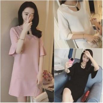 無地 シンプル ベルスリーブ ラウンドネック ショート丈 ミニ ワンピース 5分袖 かわいい 上品 キレイめ 韓国 ファッション プチプラ