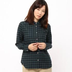 シャツ ブラウス レディース リバティボタンのビエラ丸襟ブラウス 日本製  「ブラックウォッチ」