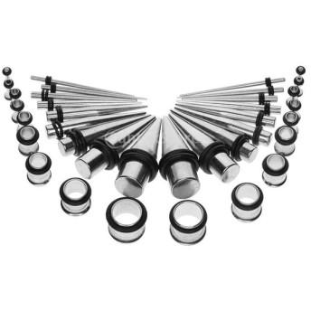36個 耳ゲージ 耳ピアス 耳拡張キット 耳飾り 軟骨ピアス 個性 美しい ステンレス製 ボディージュエリー 全2色 - 銀