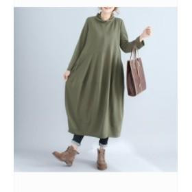 ワンピース ログワンピース バルーン 無地 長袖 ゆったり 大きいサイズ 体型カバー 着痩せ 細身 ファッション キレイめ