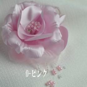 エレガントコサージュ /グレー/ピンク ヘアクリップ付 結婚式 二次会 卒業式 入学式 696