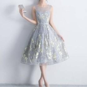 パーティドレス 同窓会 パーティードレス ロング パーティードレス 結婚式 二次会 ワンピース シースルー 刺繍ドレス 透け感