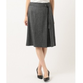 L size ONWARD(大きいサイズ) / エルサイズオンワード 【スーツ対応】ウールストレッチヘリンボーン スカート
