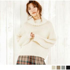 ニット・セーター - Petit Fleur ボリューム たっぷり で 可愛さ アップ レディース タートルネック 長袖 ローゲージ ニット セーター (3カラー)
