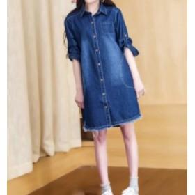 ロールアップ 2WAY袖 ワンピ デニムシャツ 大きいサイズ シャツ ワンピース デニム ブラック 韓国 プチプラ ⇒ 送料無料