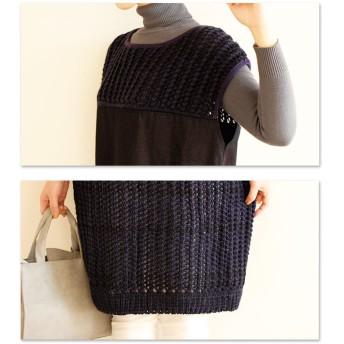 ニット・セーター - Sawa a la mode 異素材ミックスニットチュニック。レディース ファッション チュニック かぎ編みニット 異素材 ブルー フリーサイズ M L LLMサイズ Lサイズ LLサイズ 9号 11号 13号 15号 サワアラモード Sawa a la m