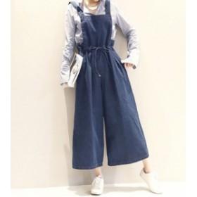 大きいサイズ デニム オーバーオール ワイドパンツ ゆったり シンプル カジュアル 定番 9分丈 サロペット 韓国 ファッション プチプラ