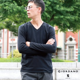 カットソー - GIORDANO [GIORDANO]VネックロングスリーブTシャツ/ロンT