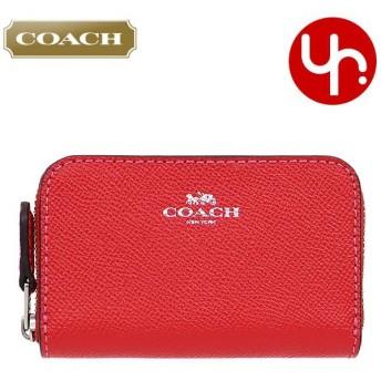コーチ COACH 財布 コインケース F27569 ブライトレッド ラグジュアリー クロスグレーン レザー スモールジップアラウンドコインパース アウトレット レディース