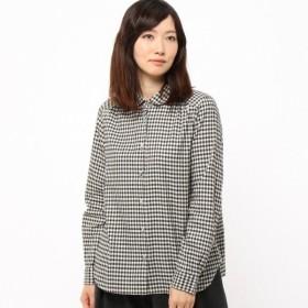 シャツ ブラウス レディース リバティボタンのビエラ丸襟ブラウス 日本製  「ブラック系ギンガムチェック」