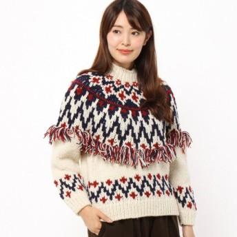 ニット セーター レディース 求心編みデザインニットプルオーバー ウール100%  「ホワイト」