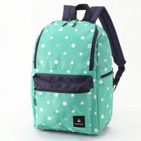 バッグ カバン 鞄 レディース リュック ドット柄フロントファスナーリュック カラー 「エメラルド」
