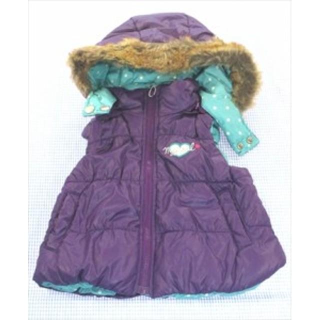 ムージョンジョン moujonjon ベスト リバーシブル 80cm ドット/無地 紫 /水色系 アウター ベビー服 キッズ 女の子 子供服 通販 買い取り