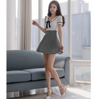 半袖 ワンピース 夏 セクシー ワンピ ショート ミニ カジュアル チェック 大人 上品 きれいめ 韓国 ファッション プチプラ