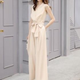 オールインワン パンツ ドレス サロペット レディース 大きいサイズ ハイウエスト パーティー お呼ばれ 白