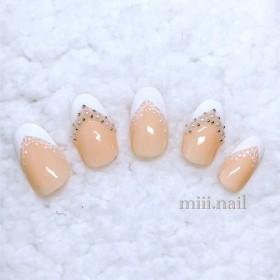 miii. nail*白フレンチ/レース/ブライダル/ウェディング/結婚式/付け爪/ネイルチップ