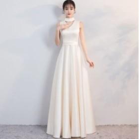 485485932d445 Vネック ビーズ パーティー ドレス レディース 大きいサイズ ノースリーブ マキシ 二次会 花嫁 結婚式 白